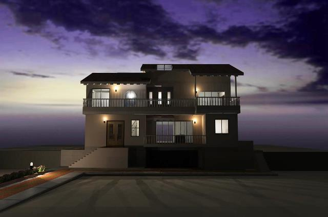 愛知県名古屋市の高低差がある敷地に大きな吹き抜けの洋風注文住宅プラン!デザインファーストのご提案!