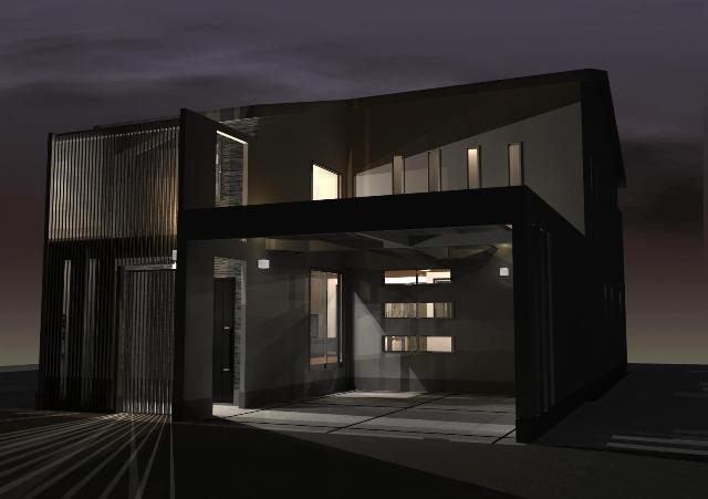 京都市北区に螺旋階段のあるシンプルモダンな注文住宅プラン!