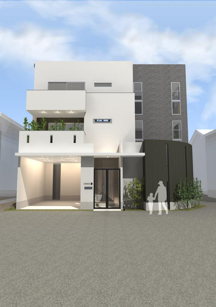 兵庫県西宮市にR壁が栄える立体感のある家!デザインファーストのご提案!
