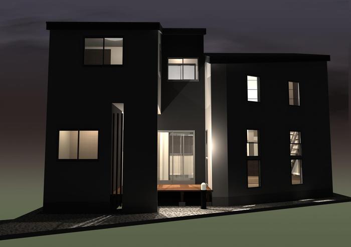 東京都調布市の旗竿地に建つ注文住宅プラン!デザインファーストのご提案!