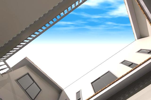 滋賀県大津市のモダンなパティオのある洋風注文住宅プラン!